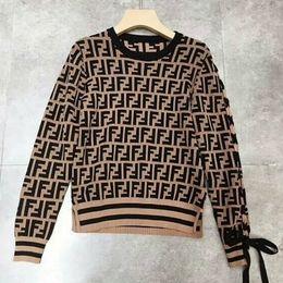 2018 Fashion Style Luxury Design Logo Letter FF Women Girl Lady Noble Slim Lace up Sleeves Knits Sweater 1 шт Бесплатная доставка от