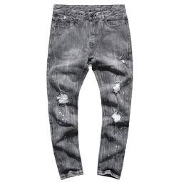 Uomo Autunno New European Style Grigio lavato Retro strappato Holes Jeans  Uomo Slim Fashion Design di marca pantaloni Hip Hop Jeans K851 20bd14b41391
