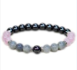 Pulseiras de charme de quartzo on-line-12 pçs / lote Labradorite jóias Rose quartz pulseira de Fertilidade presente de Aniversário