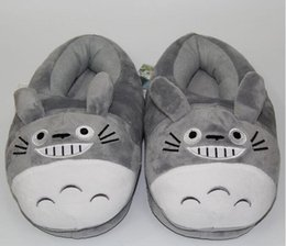 Wholesale Animal Slippers Adults - 3D My Neighbor Totoro Soft Plush Slipper Cosplay Cartoon Heating Warmer Slippers Winter Indoor Home Shoes For Adult
