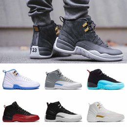 Wholesale Hot Pink Suede Boots - hot 2018 shoes 12s basketball shoes man Flu Game ovo white Gym gs barons Blue Suede wool master wool Playoff sneaker boots