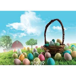 Wholesale photography backdrops for kids - Easter Eggs Basket Photo Background for Photo Studio Camera Fotografica Vinyl Cloth Photography Backdrops for Holiday Party Kid
