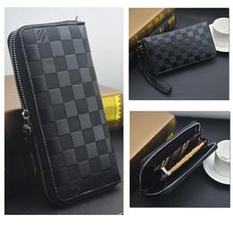 Wholesale Rock Mobile - Hot Fashion Lattice Multi-function Mobile Phone Package Wallet Brand Long Plaid Zipper PU Men Wallet Purse Practical Gifts Classic Style