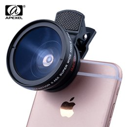 Wholesale 37mm Wide - Cell Phone Camera Lens HD 37MM 0.45x Super Wide Angle Lens 12.5x Super Macro Lens for iPhone Samsung Xiaomi etc.