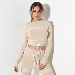 c948f5d7f25 Women Mesh Long Sleeve Crop Top Solid Skinny Casual Pant 2 Pieces Set  Tracksuit Set