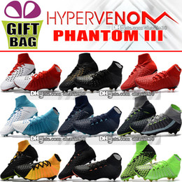 Wholesale low heeled ankle boots - New 2018 High Ankle Football Boots Hypervenom Phantom III DF FG ACC Soccer Shoes EA Sports Hypervenom Indoor TF IC Turf Soccer Cleats Socks