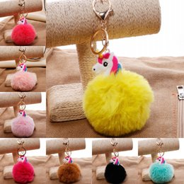 Wholesale Cute Simple Rings - Unicorn Keychain Cute Alloy Simple Key Chain Pendant Women Car Styling Fluffy Fur Pompom Keyring Bag Hang Key Rings D199Q