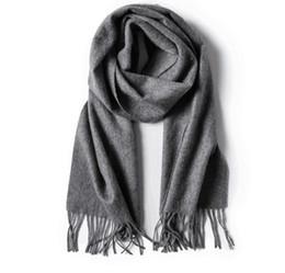 Wholesale wool scarf large - 100% Wool solid women long tassel soft scarf large shawl