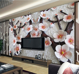 Wholesale Quality Custom Painting - custom wall mural Modern art painting high quality mural wallpaper 3d living room TV backdrop relief plum photo wall paper