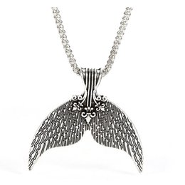 Wholesale whale tail pendant - 1 Pcs Ethnic Whale Tail Pendant Necklace for Women Lovely Mermaid Tail Choker Necklace Mermaid Long Chain