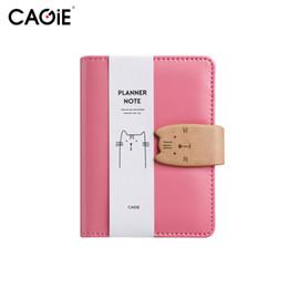 Mini diario della tasca online-CAGIE A7 Notebook Kawaii Cat Mini Planner in pelle Tasche per appunti e quaderni Quaderni e diario Diario rosa con penna