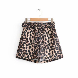Старинные штаны для печати онлайн-2018 women vintage sexy leopard print sashes Bermuda Shorts ladies zipper casual short pants chic  pantalones cortos P186