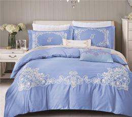 Wholesale King Egyptian Cotton Sheets - Bed Linen 4Pcs Egyptian cotton lace Bedding Sets King Queen Size Bedspread Duvet Cover Bed sheet housse de couette