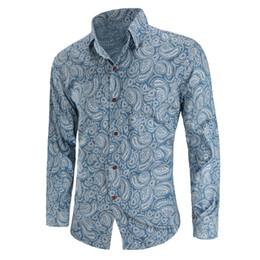 4a5033ec3d Men Denim shirt Cowboy Shirt Casual Long Sleeves Slim Fit Cotton Fashion  Male Denims Jeans Shirt Tops Size M-XXXXL National Wind Flower Hot