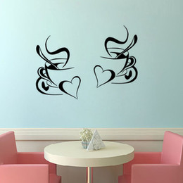 black arts festival Promo Codes - kitchen wall sticker coffee 2pcs coffee cup with heart kitchen vinyl wall art decor decal stickers 30x20cm