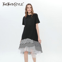 Wholesale Trumpet Midi Dress - TWOTWINSTYLE Trumpet Dress Female Short Sleeve Striped Mesh Patchwork Asymmetrical Midi Dresses 2018 Spring Summer Fashion New