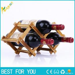 Wholesale Wine Rack Wood - Solid wood wine rack pine wooden wine rack creative folding wood wine rack ornaments multi bottled ornaments wood color