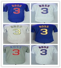 Wholesale Ross Gold - men's 3 David Ross Home Away Baseball Jersey Blue Gray Green White Pinstripe Cool Base Stitched Jerseys