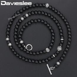 Davieslee con cuentas de cristal negro Neckalce para mujeres hombres Mate de plata con tono flecha colgante de collar de la linterna de Buda encantos 6 mm DNM04 desde fabricantes