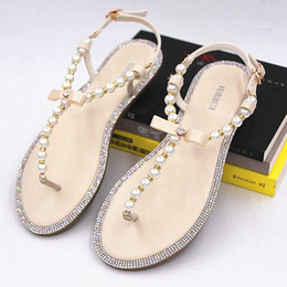 Wholesale Black Pearl Flat Back - Brand women's sandals 2017 summer beaded stone pearl female sandals Rome flat sandwich toe women's flat wedding shoes