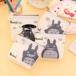 Wholesale Silicone Wallet Men - 1 Pcs Men & Women Cute Cartoon Coin Purse Wallet My Neighbor Totoro Silicone Jelly Keychain Bag Transparent Card Holder