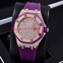 orologio da 37 millimetri Sconti 5 orologi di lusso di colore 67543BC.ZZ K8 fabbrica 37mm offshore full diamond lunetta Asia 9015 movimento meccanico automatico delle donne orologi da donna