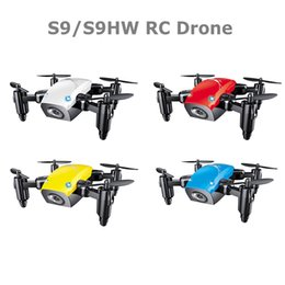 drones di controllo radiofonico Sconti S9HW Mini Drone con fotocamera S9 No fotocamera RC elicottero pieghevole Droni Altitude Hold Quadcopter WiFi FPV Pocket Dron giocattolo