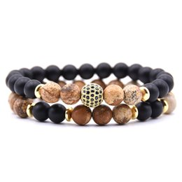 6 мм микро шарики онлайн-Natural stone Black 6mm  Bracelets For Women 8mm Micro Pave CZ Ball Charms yoga Bracelet Men jewelry