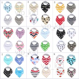 Wholesale water check - Baby mouth water towel 4 pieces of 1 set double layer baby bibs cotton cartoon printing anti - mouth water children 's buckle