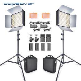 fotografische lichtkits Rabatt 2-in-1-Kit für LED-Videolicht Studio-Foto-LED-Panel-Fotobeleuchtung mit Stativtaschenbatterie 600 5500K CRI 90