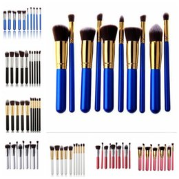 Wholesale Wholesale Kabuki Makeup Brushes - SAMPLE 2SET NEW 8 colors Superior Professional Soft Cosmetic Facial Make up Oval Brushes Set makeup brushes kabuki brush 10pcs set