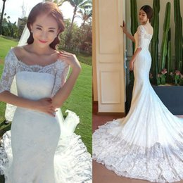Wholesale Bridal Dress China Mermaid - Vintage Lace Mermaid Wedding Gowns Dresses from China Illusion Scoop Neck Short Half Sleeves Elegant Country Bridal Gown with Train