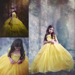 Wholesale girls pageant costumes - New 2017 Belle Birthday Gown Costume in Yellow Off Shoulder Handmade Flower Tiered Chiffon Pageant Dress Lovely Ball Gown Flower Girl Dress