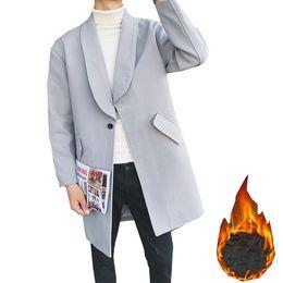 Casacos de pano on-line-Fashion Men's high-end winter keep Thicken Warm Woolen cloth coat British style Male Lapel pure color Long Single buckle jacket