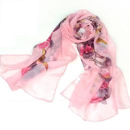 Patrones impresos rosa roja online-Bufanda estampada de gasa con estampado de pájaros Bs Bs (rosa roja)