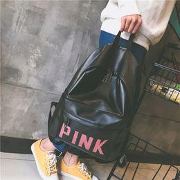 bolsa de laptop de couro rosa Desconto Mochila amor rosa PU de Couro Laptop Caso Mochilas Carta saco de escola meninas estudantes Sacos De ombro À Prova D 'Água 2018