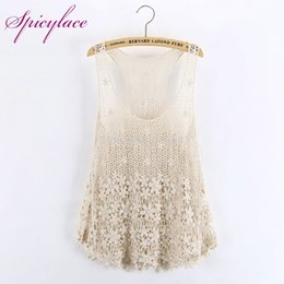 0b01de8546688 Spicylace Women Hollow Floral Lace O-Neck Tops Summer Sweet Lace Floral  Vest Blouses Embroidery Blouse Street-wear Top Tee