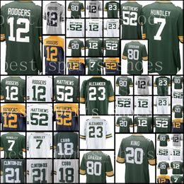 Wholesale Jerseys 52 - 12 Aaron Rodgers 7 Brett Hundley Packers Jersey Men's #80 Graham 20 Kevin King Jersey 52 Matthews Alexander 21 Clinton-Dix stitched Jerseys