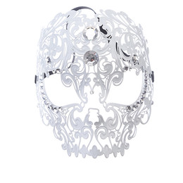 Wholesale Laser Costumes - Men Devil Sexy Skull Laser Cut Face Venetian Masquerade Masks Event Party Ball Mardi Gras Party Costumes with Rhinestones