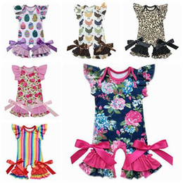 Wholesale Newborn Ruffle Rompers Wholesale - 2018 summer boutique kids clothing baby girl clothes girls rompers ruffle floral jumpsuits valentines days gifts easter newborn onesies cute
