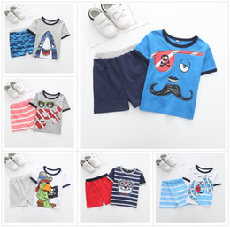 Wholesale Pirates Pc - 2018 new children marine style Summer Boys INS Shark Crab Pirate sets cotton Short sleeve T-shirt +shorts 2 pcs Suit baby clothes