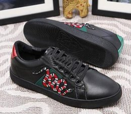 Wholesale Love Deeper - Low Top Black And White Leather Men Women G Casual Shoes 2018 New Designer Fashion Snake Embroidery for Love Sneakers