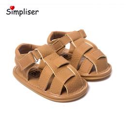 2019 sapatos de bebê sola Baby Boys sandálias de couro Pu Primeiros Caminhantes 0-18 Meses Anti-slip Sola De Borracha Da Criança Sapatos Ao Ar Livre Sapatos de Caminhada Ao Ar Livre sapatos de bebê sola barato