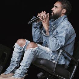 Jeans scarni grandi piedi online-rock star grande distrutto strappato skinny afflitto uomo biker jeans cerniera laterale sui piedi dei nuovi pantaloni deisgn