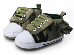 Wholesale Canvas Shoe Bags Wholesale - 2017 lace up camo baby boys shoes with side bag soft rubber sole first walker sneakers Fashion girls shoes