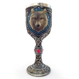 Caffè lupo online-Lekoch 3d tazza di caffè testa di lupo teschio guerriero unicorno cranio mano latte tazze e tazze personalità creativa tazza di viaggio regali stupefacenti