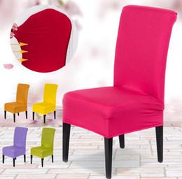 material de hoja Rebajas Cubiertas de la silla de comedor de Spandex de poliéster de colores sólidos para la cubierta de la silla del banquete de boda Cubiertas de asiento de silla de comedor marrón SN1979