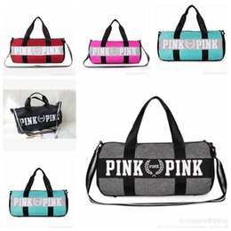 Wholesale Large Square Boxes - Women Handbags Pink Letter Large Capacity Travel Duffle Striped Waterproof Beach Bag Shoulder Bag
