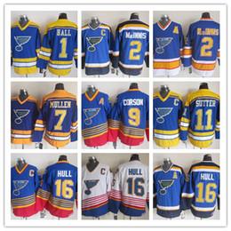 correr uniforme Rebajas Retro St. Louis Blues Camisetas de hockey para correr CCM Vintage Glenn Hall Al MacInnis Joe Mullen Shayne Corson Brian Sutter Brett Uniformes de casco