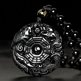 Wholesale Carved Stone Pendant Beads - Natural Black Obsidian Carved Chinese Dragon Phenix BaGua Lucky Amulet Pendant With Beads Necklace Fashion Fine Jewelry